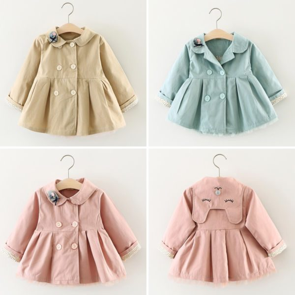 Baby Girls Cute Trench Coat Pink/Green/Khaki Cotton Long Jackets ali kids store