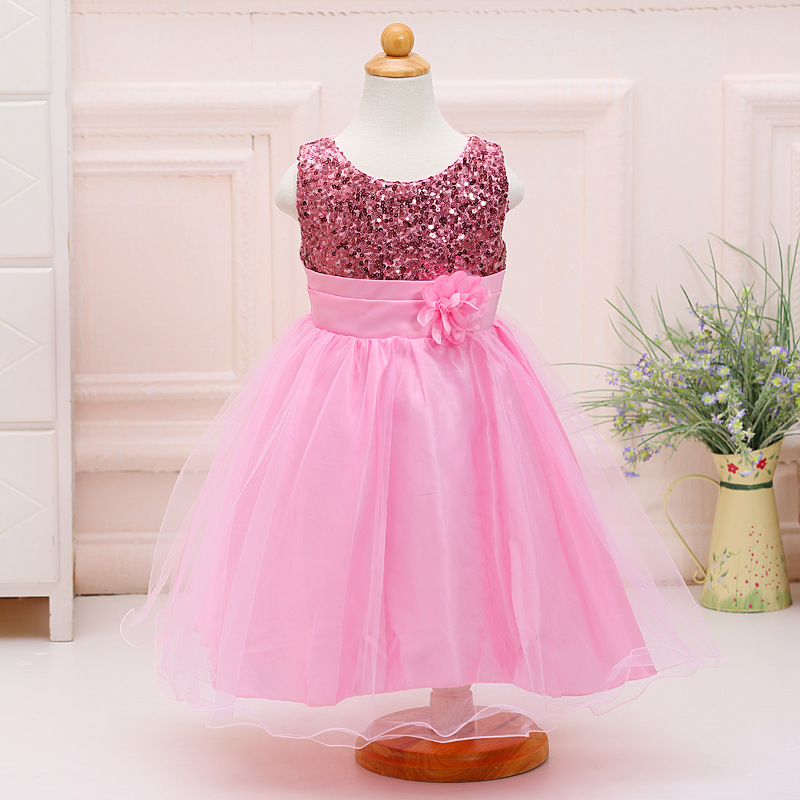 Girl's Wedding Party Pageant Birthday Dress Charming Sequin Floral Overlay Dress in Pink