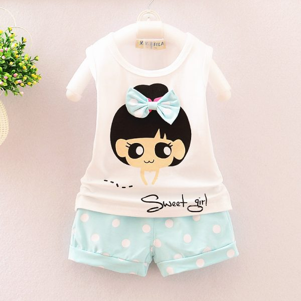 6 months to 3 years doll printed shirt with printed shorts