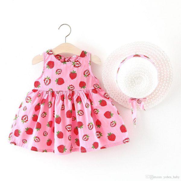 strawbery printed baby girls frocks online